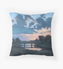 Evening over Varta river Throw Pillow