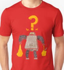 retro cartoon confused robot carrying shopping Unisex T-Shirt