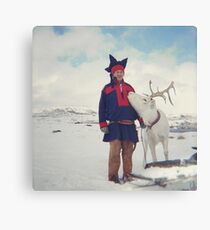 Sami and Reindeer on Magerøya, Norway near the Nordkapp - Diana 120mm Photograph Canvas Print