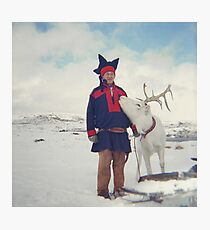 Sami and Reindeer on Magerøya, Norway near the Nordkapp - Diana 120mm Photograph Photographic Print