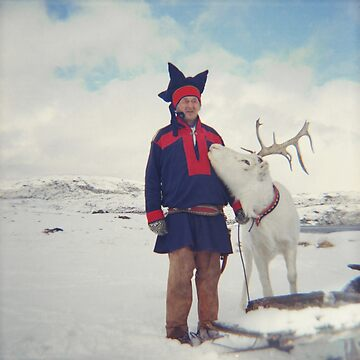 Sami and Reindeer on Magerøya, Norway near the Nordkapp - Diana 120mm Photograph by ztrnorge