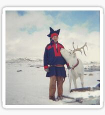 Sami and Reindeer on Magerøya, Norway near the Nordkapp - Diana 120mm Photograph Sticker
