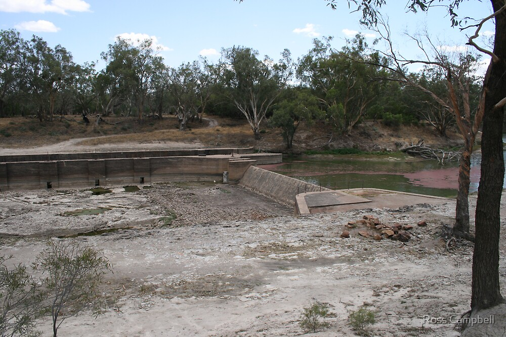 Weir at Bourke During the big Drought by Ross Campbell