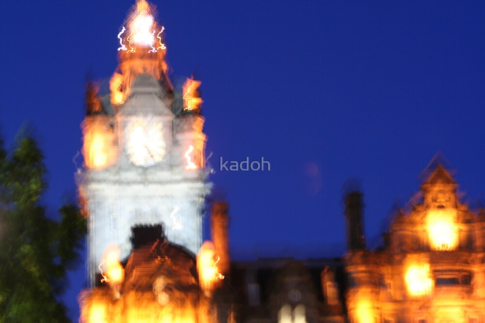glowing clock tower by kadoh