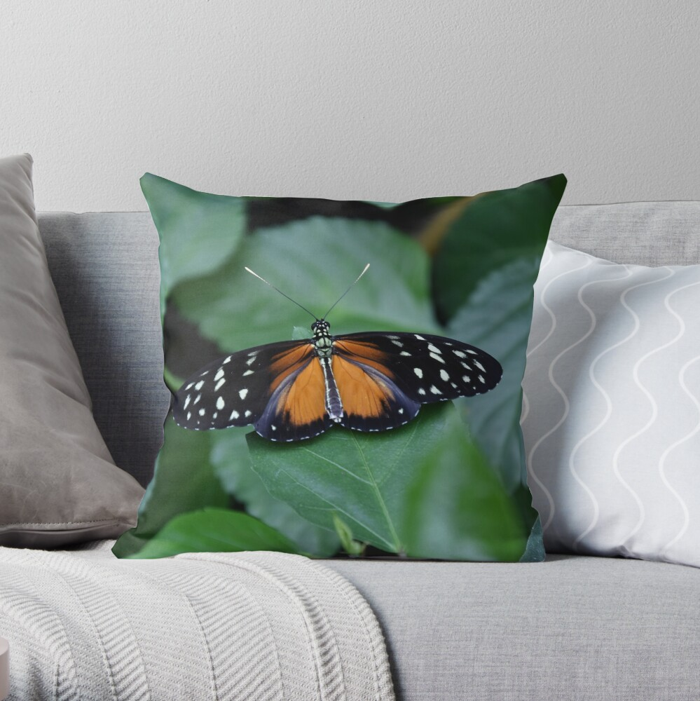 Tiger longwing butterfly Throw Pillow
