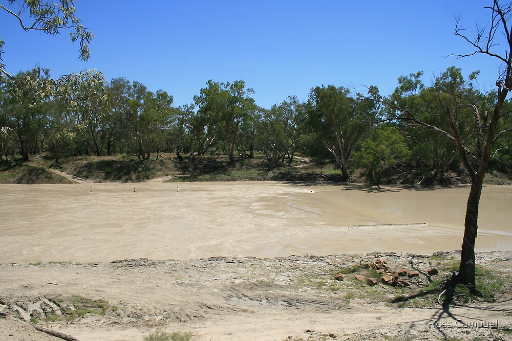 The Weir at Bourke, Now Flowing Once More. by Ross Campbell