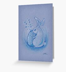 Blue Rabbit Greeting Card