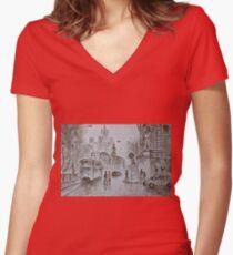 urban scene Women's Fitted V-Neck T-Shirt