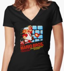 Super Mario Bros. NES Women's Fitted V-Neck T-Shirt