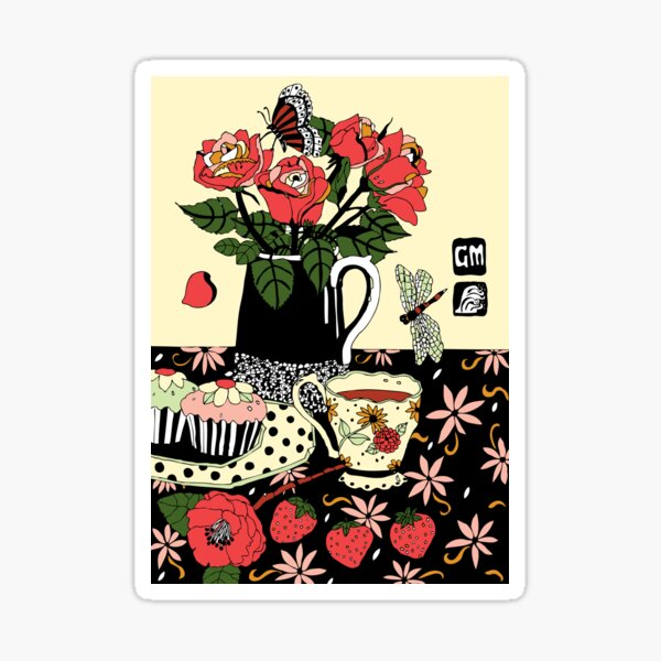 camellia tea with roses Sticker