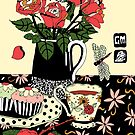 camellia tea with roses by genevievem