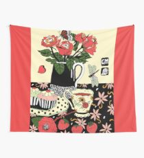 camellia tea with roses Wall Tapestry