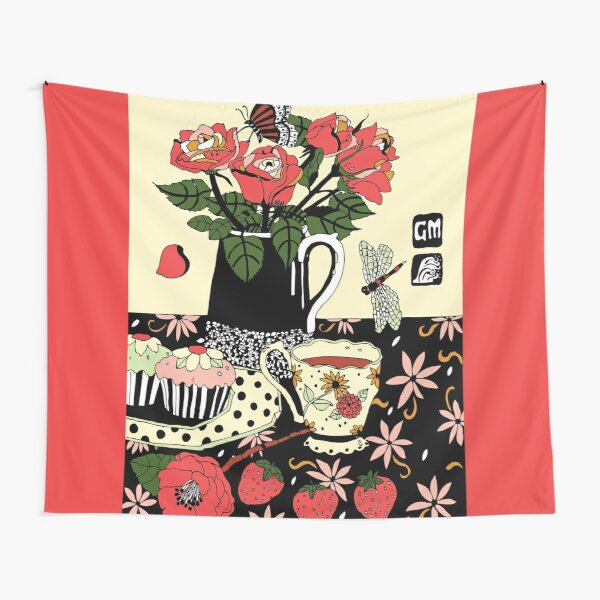 camellia tea with roses Tapestry