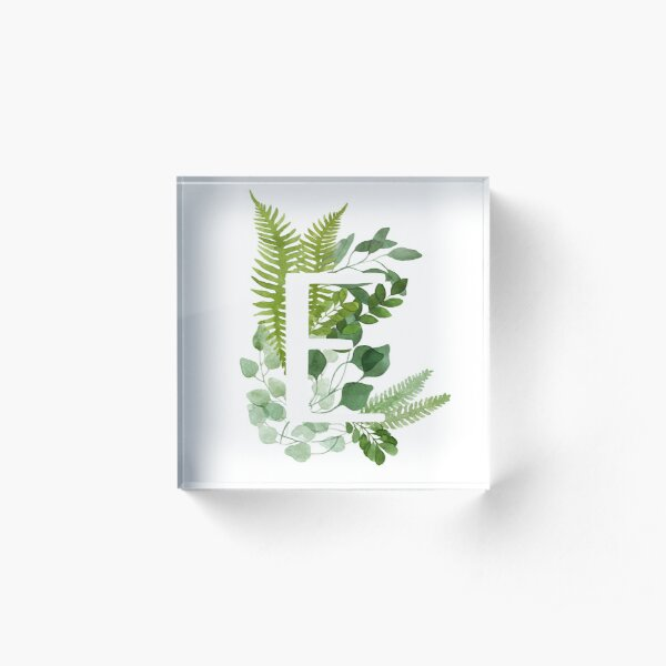 Floral letter E Acrylic Block