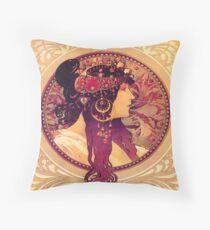 Alphonse Mucha, Vintage Throw Pillow