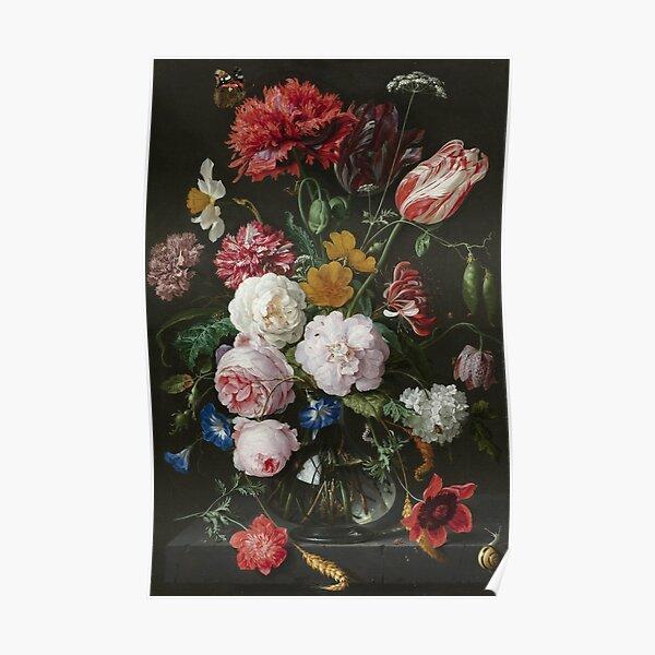 Jan Davidsz. De Heem - Still Life With Flowers In A Glass Vase, 1683 Poster