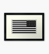 American Flag, ARMY, REVERSE FLAG, Stars & Stripes, US, USA, America, Black on white Framed Print