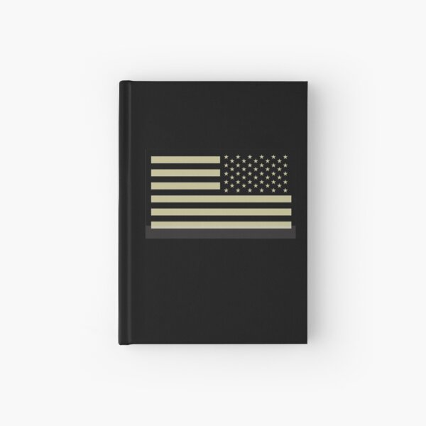 AMERICAN ARMY. Soldier. American Military. Arm Flag, US Military, IR, Infrared, USA, Flag, Reverse side flag, on BLACK. Hardcover Journal