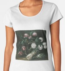 Jan Fyt - Vase Of Flowers And Two Bunches Of Asparagus Women's Premium T-Shirt