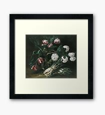 Jan Fyt - Vase Of Flowers And Two Bunches Of Asparagus Framed Print