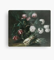 Jan Fyt - Vase Of Flowers And Two Bunches Of Asparagus Metal Print