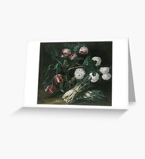 Jan Fyt - Vase Of Flowers And Two Bunches Of Asparagus Greeting Card