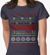 Supernatural Christmas Sweater Womens Fitted T-Shirt
