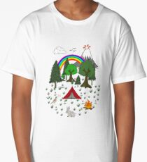 Cartoon Camping Scene Long T-Shirt