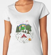 Cartoon Camping Scene Women's Premium T-Shirt