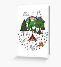 Cartoon Camping Scene Greeting Card