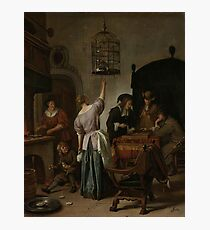Jan Steen - Interior With A Woman Feeding A Parrot, Known As the Parrot Cage , 1670 Photographic Print