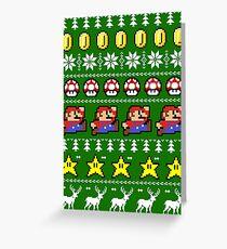 Super Mario 8-Bit Hässliches Weihnachten Grußkarte