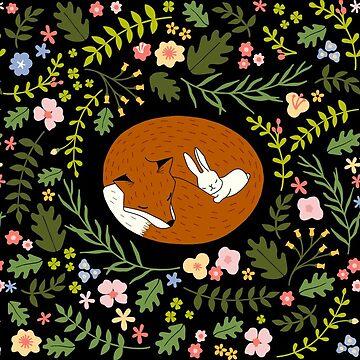 Friendship Fox-Rabbit_BgBlack de miavaldez
