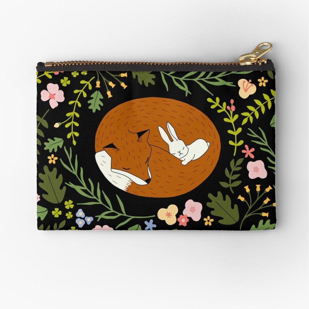 Friendship Fox-Rabbit_BgBlack Zipper Pouch