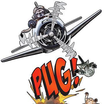 Cute Pilot Pug Dog   by Bubolina