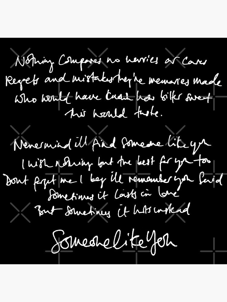 Someone Like You Handwritten Lyrics Adele Postcard By Daydreameruk Redbubble