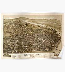 Panoramic Maps Chattanooga county seat of Hamilton County Tennessee 1886 Poster