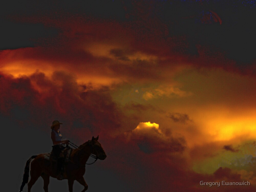 She Rides The Ridges At Sunset by Gregory Ewanowich