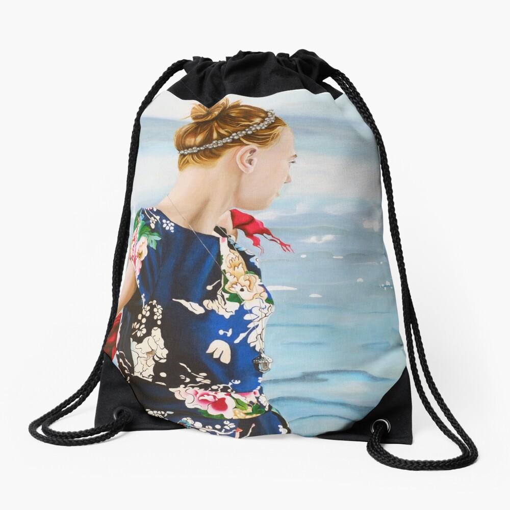 Oceans at her Feet Drawstring Bag
