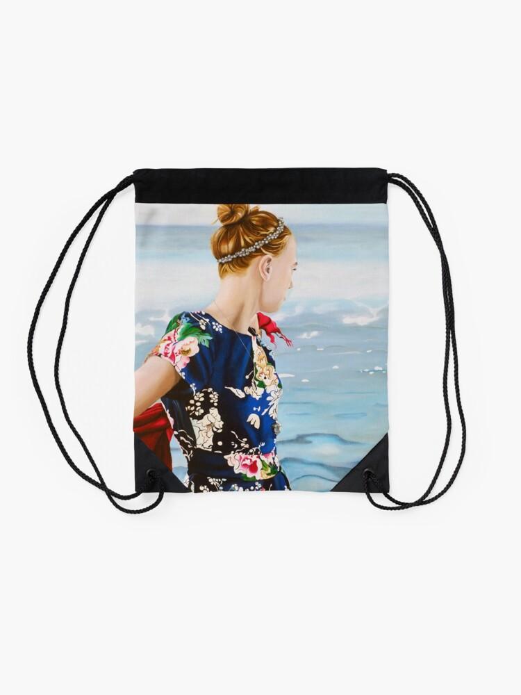 Alternate view of Oceans at her Feet Drawstring Bag