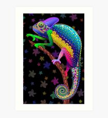Chameleon Fantasy Rainbow Colors Art Print