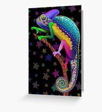 Chameleon Fantasy Rainbow Colors Greeting Card