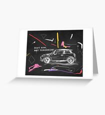 Scribble car on chalkboard Greeting Card