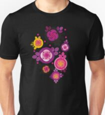 Rose and leaves inside circles Unisex T-Shirt