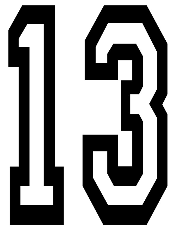 13 team sports number 13 thirteen thirteenth one for Phobie chiffre 13