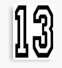 13, TEAM SPORTS, NUMBER 13, THIRTEEN, THIRTEENTH, ONE, THREE, Competition, Unlucky, Luck Canvas Print
