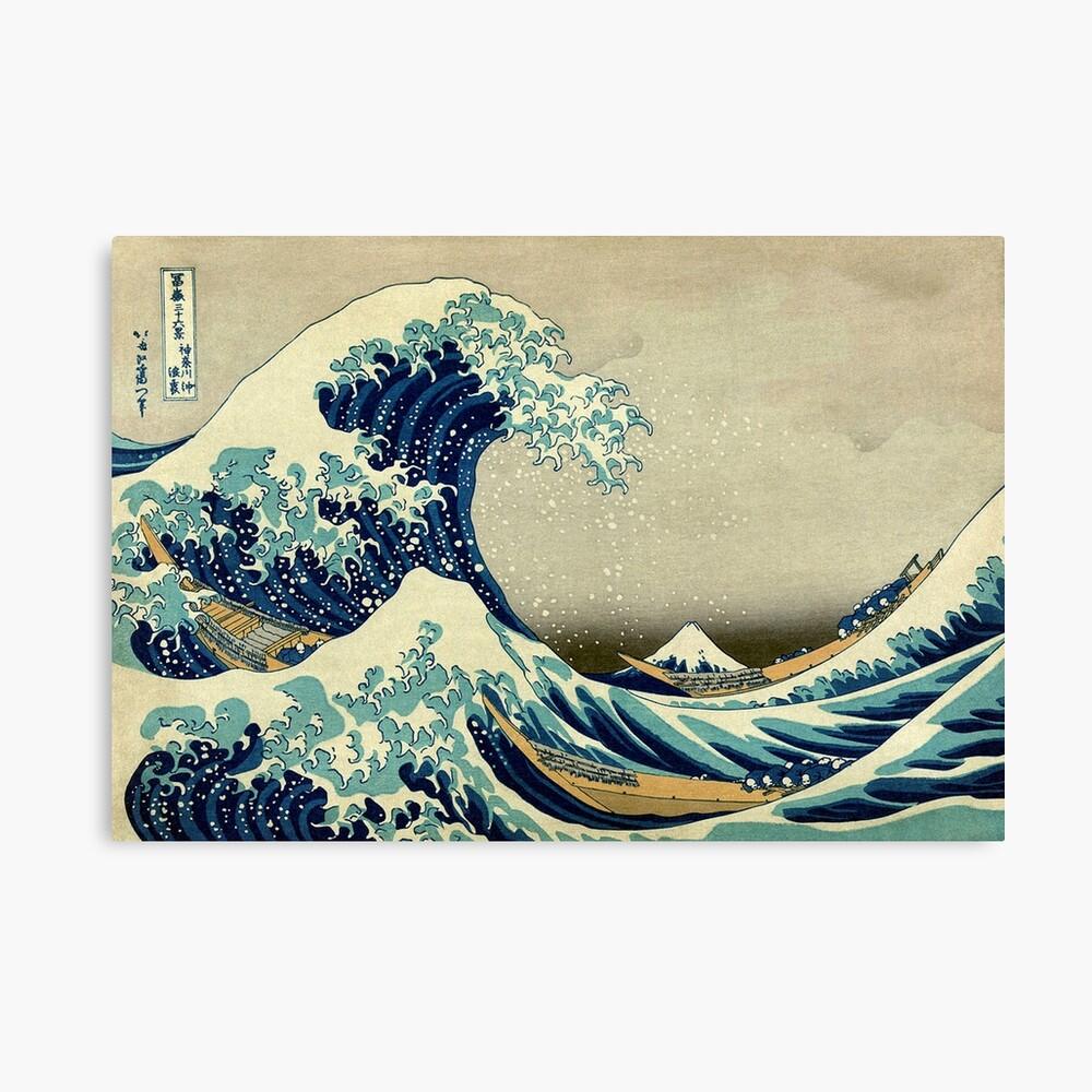 Hokusai, la gran ola de Kanagawa, Japón, japonés, bloque de madera, imprimir Lienzo