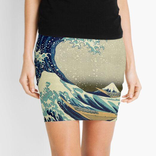 Hokusai, The Great Wave off Kanagawa, Japan, Japanese, Wood block, print. Mini Skirt