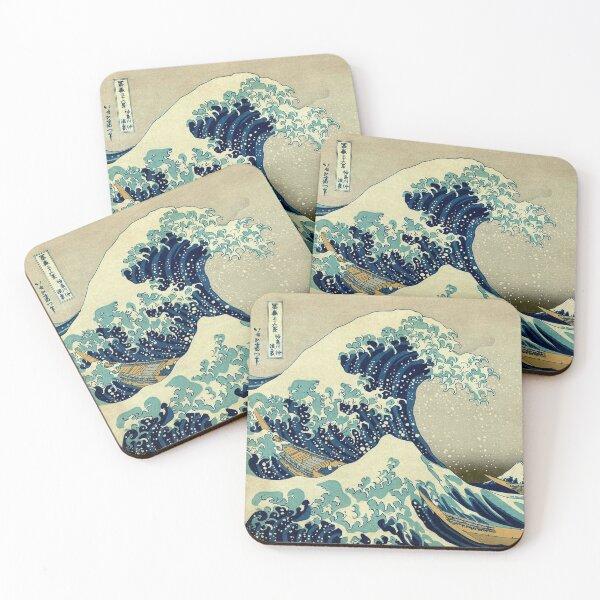 Hokusai, The Great Wave off Kanagawa, Japan, Japanese, Wood block, print. Coasters (Set of 4)