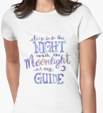 Moonlight Quote Watercolor Lettering Womens Fitted T-Shirt